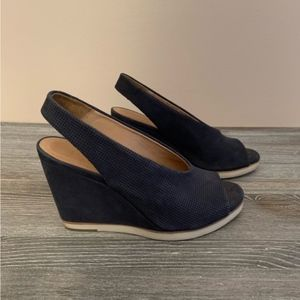 Coclico Blue Chunk Heel Sandals Open Toe Shoes 7